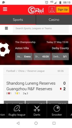 32red mobile app screenshot