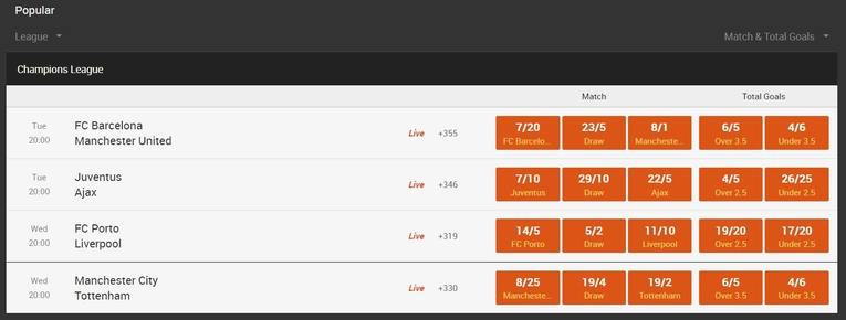 888sport odds and markets