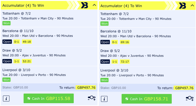 cash out example early phase