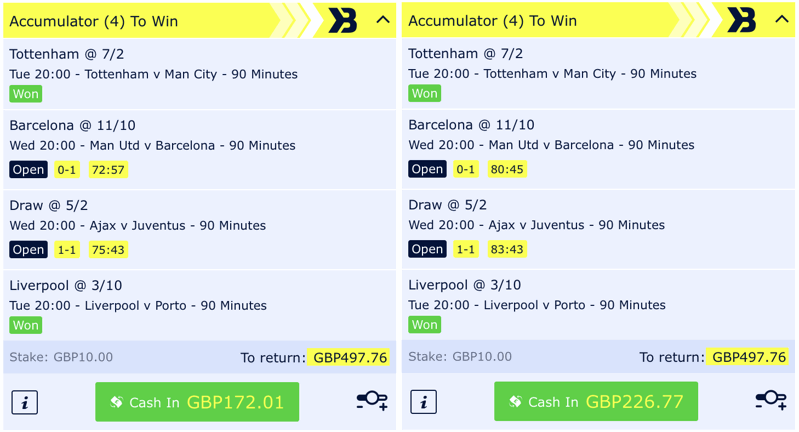 cash out example mid phase
