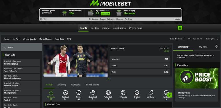 mobilebet homepage screenshot