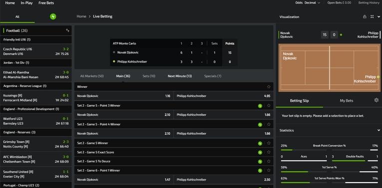 mobilebet live betting interface