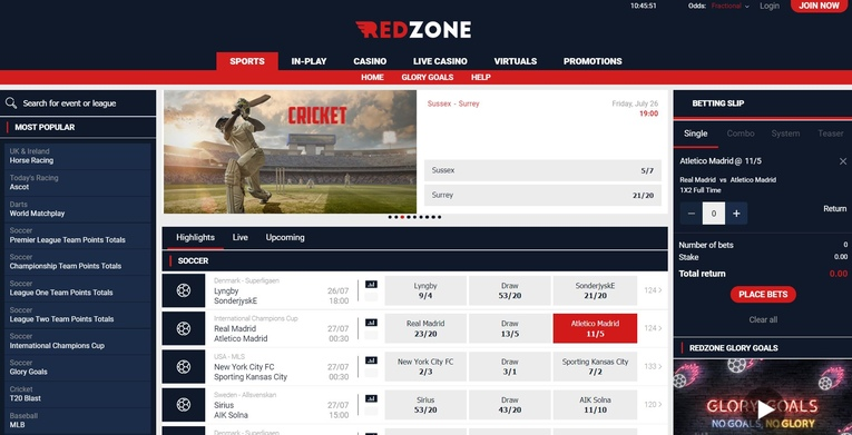red zone homepage screenshot