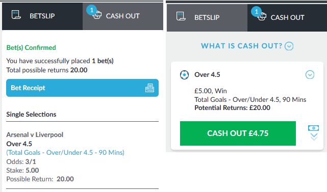 screenshot of live cash out
