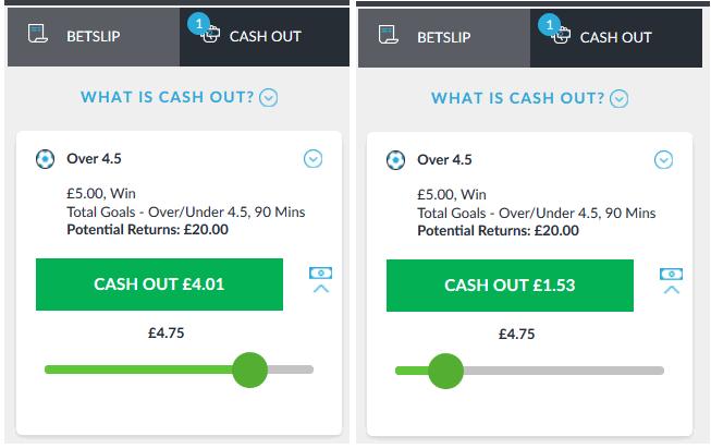 screenshot of live partial cash out