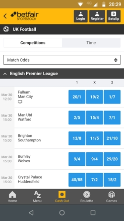 Betfair mobile app screenshot
