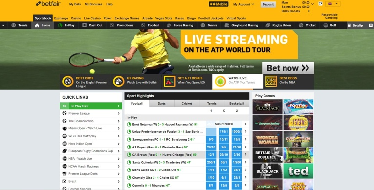 betfair homescreen screenshot