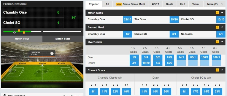 betfair inplay interface