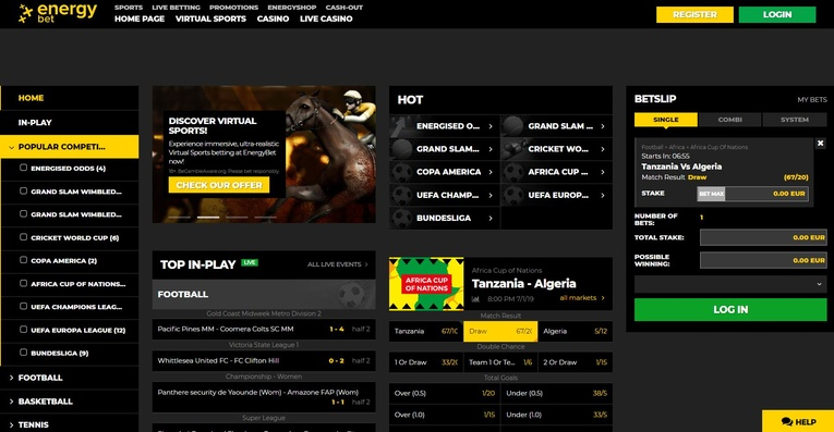 energybet homepage screenshot