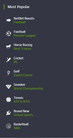 netbet popular markets list