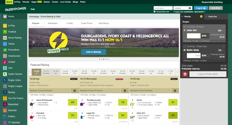 paddy power homepage screenshot