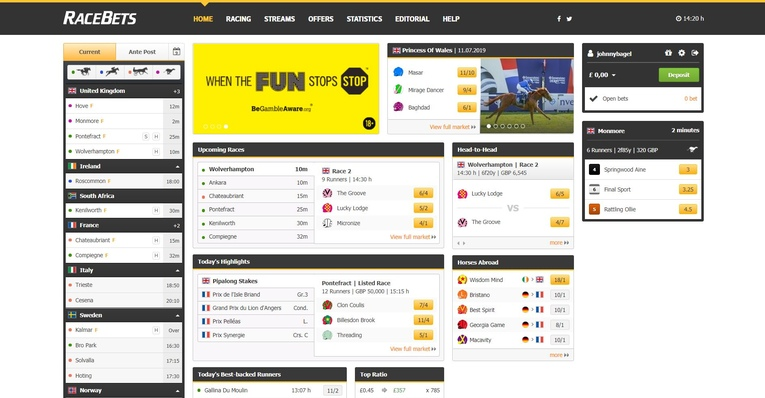 racebets homepage screenshot
